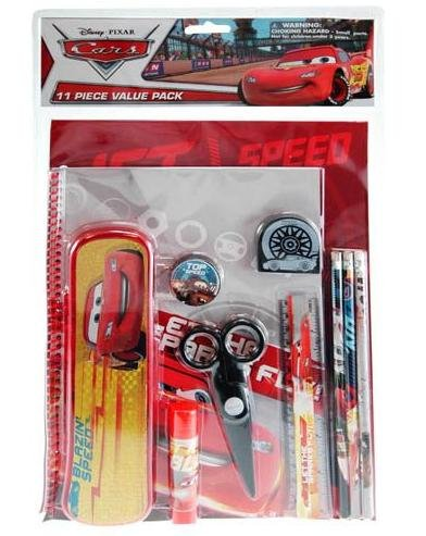 Cars 11pc Value Pack with Plastic Pencil Case - 1