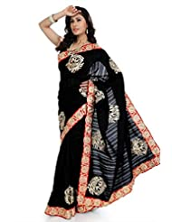 Designersareez Women Bhagalpuri Silk Embroidered Black Saree With Unstitched Blouse(1344)