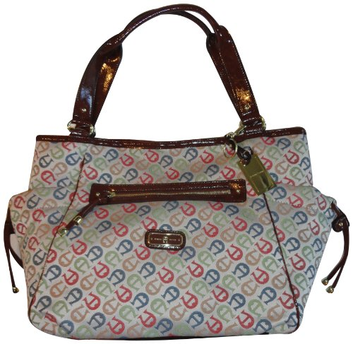 Women's Etienne Aigner Purse Handbag A Plus Logo Tote Sm Collection Bright Multi W/Saddle
