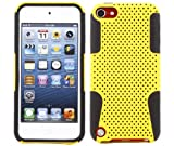 ITALKonline FuZion NET (Twin Protection) Hard YELLOW Back Case/Cover & BLACK Silicone Skin/Gel For Apple iPod Touch 5 5G (5th Generation) 8GB, 32GB, 64GB