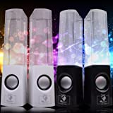 Random Color Dancing Water Music 4 LED Fountain Light Speakers For Computer Laptop Mobile Phone PC PSP MP3 White Or Black