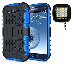 Jma Kick Stand Spider Hard Dual Rugged Hybrid Bumper Back Case Cover With 16 LED Selfie Flash Light For Samsung Galaxy Grand I9082 - Blue