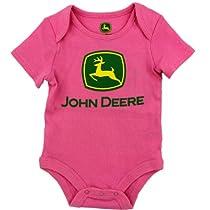 "John Deere ""Classic Logo"" Pink Bodysuit Creeper,9 Months,Pink"