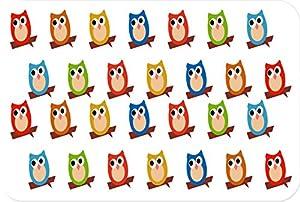 Rikki KnightTM Multi-Color Owls on White Small glass Cutting board