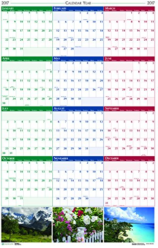 """House of Doolittle 2017 Laminated Wall Calendar, Earthscapes Scenic, Reversible, 24 x 37"""" (HOD393-17)"""