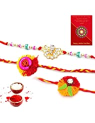 Ethnic Rakhi Designer Floral Pattern Multi-Color Fashionable And Stylish Mauli Thread And Beads Rakhi Set Of 3...