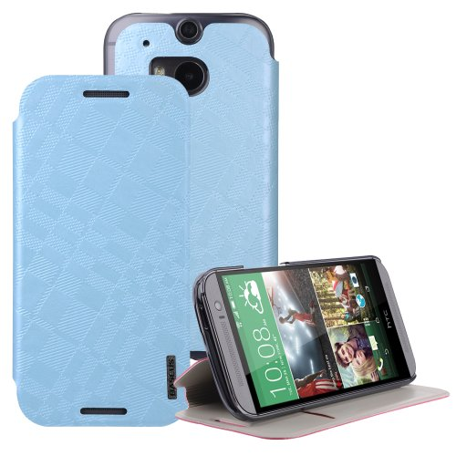 Moon Monkey Classical Check Slim Protective Cover Case For Htc One 2/M8 (Blue)