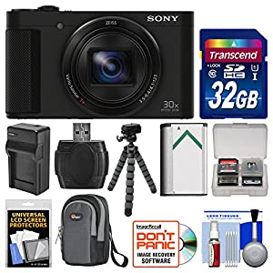 Sony Cyber-Shot DSC-HX90V Wi-Fi GPS Digital Camera with 32GB Card + Case + Battery & Charger + Flex Tripod + Kit
