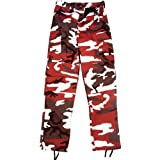 Camouflage Military BDU Pants, Army Cargo Fatigues (Red Camouflage, Size 3X-Large)