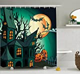 Ambesonne Halloween Decorations Collection, Haunted Medieval House Theme Cartoon Bats in Twilight Gothic Fiction Spooky Art, Polyester Fabric Bathroom Shower Curtain Set, 75 Inches Long, Orange Teal