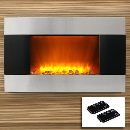 "35"" 1500W Adjustable Heat Electric Fireplace Heater Stainless Steel Natural Stone Insert Color Changing Flame"
