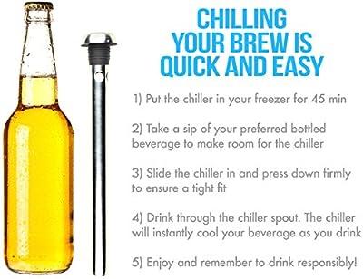 SugarFox Stainless Steel Beer Chiller In-Bottle & Drink-Through Beverage Cooler [2 Pack]
