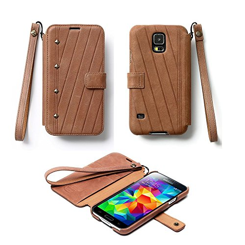 Pioneer Tech® Neo Vintage Diary Genuine Leather Wallet Case Cover For Samsung Galaxy S5 (Zn-Light Brown)