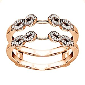 0.38CT Diamonds Infinity Ring Guard Enhancer set in Rose Gold Plated Sterling Silver (0.38CT TWT Diamonds G-H SI2-I1 )