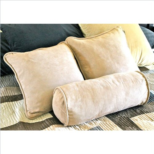 Blazing Needles Set Of 3 Micro Suede 18 In. Pillows With Bolster Package front-773921