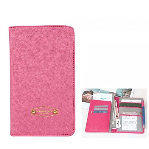 PU cuoio carta di credito di viaggio imbarco di passaporto biglietto titolare bill organizzatore rose