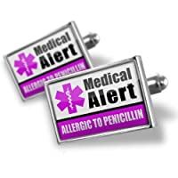 """Neonblond Cufflinks Medical Alert Purple """"Only gluten Free Allergy Safe"""" - cuff links for man from NEONBLOND Jewelry & Accessories"""