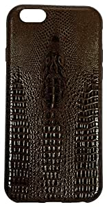 Back cover in PU crocodile look leather designed for Apple IPHONE 6 (4.7) Zeztee ZT10575 (Dark Brown)