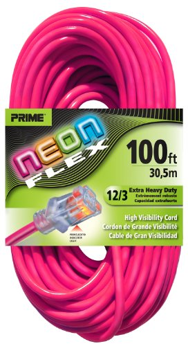 Prime Wire & Cable Ns513835 100-Foot 12/3 Sjtw Flex High Visibility Extra Heavy Duty Outdoor Extension Cord With Prime Light Indicator Light, Neon Pink