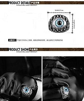 SunIfSnow Men's Super Cool Talons and Fangs Blue Devil's Eyes Titanium Steel Rings
