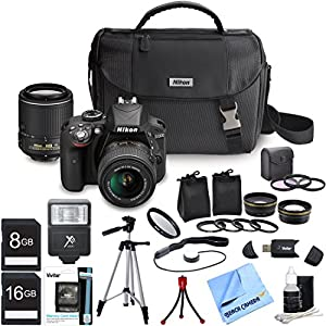 Nikon D3300 DSLR Camera w/ 18-55 & 55-200mm DX VR II Zoom Lens Deluxe Bundle Includes .45x Wide Angle & 2x Telephoto Lens, Filter kit, Flash, Camera Bag, 16GB & 8GB Memory Cards, Tripod, & Much More