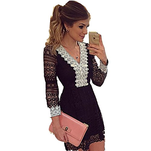 Damen Herbst Art Und Weise Elegant Langärmeligen Kleid Spitze V-Ausschnitt Schwarz Und Weiß Sogar Miniröcke