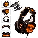 【2015モデル】ゲーミングヘッドセット 40mm Hi-Fi ドライバー USB有線ゲーム用ヘッドフォン 音量調節可能 ノイズキャンセリング機能 PCやタブレット専用ヘッドセットSADES SA-738 Gaming Headset ブラック&オレンジ