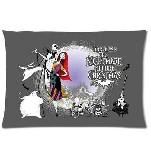 Generic Gray Color The Nightmares Before Christmas Role Cotton And Polyester Rectangle Standard Zippered Pillowcases Case 16 By 24 Inch front-904644
