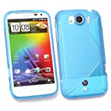 Kit Me Out UK TPU Gel Case + Screen Protector with MicroFibre Cleaning Cloth for HTC Sensation XL - Blue S Wave Pattern