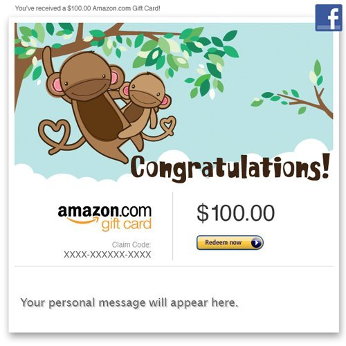 Amazon Gift Card - Facebook - New Baby (Monkey) front-330612
