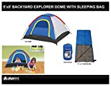 Kids Blue Camping Bundle Set Including 5x5 Dome Tent w/ Dew Protector: Sleeps 2-3 Children and Comes with 1 Sleeping Bags w/ Pouch