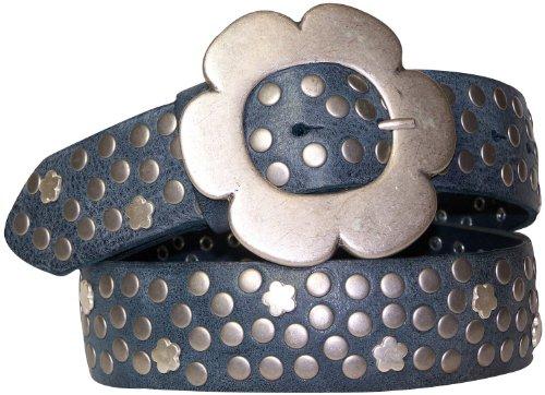 FRONHOFER belt flower buckle silver look, studded belt, vintage organic leather, Size:waist size 37.5 IN L EU 95 cm;Color:Denim