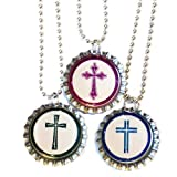 Simply Crosses - Christian Bottlecap Necklaces - Set Of 3 In Purple, Green And Blue