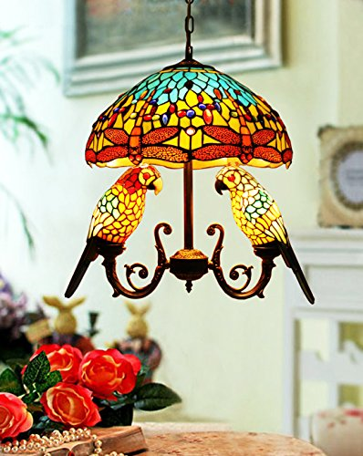 Simple  Style Stained Glass inch Dragonfly Double Parrots Pendant Hanging Lamp