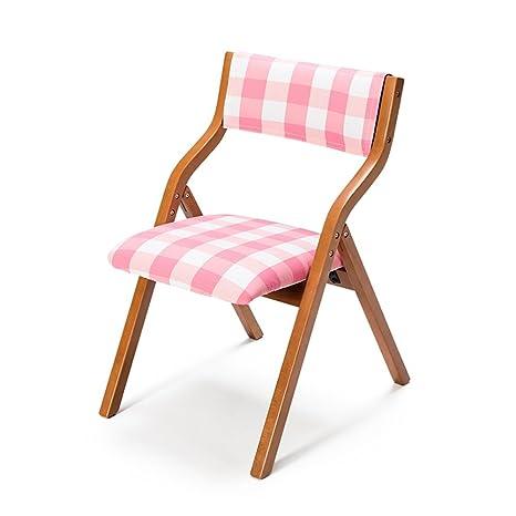 Silla de comedor de madera maciza Silla de ocio plegable creativa de la sala de reunión del restaurante (cubierta rosada del asiento de la rejilla del paño)