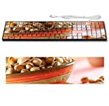 Ceramic Bowl Pistachios Healthy Nuts Keyboard Customized Made to Order Support Ready 16 7/8 inch (430mm) x 4 7/8 inch (125mm) x 15/16 inch (25mm) High Quality Liil Key board Boards desktop laptop Key_board comfortable computer accessories cute gaming gear