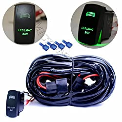 See mictuning HD 300w LED Light Bar Wiring Harness 40 Amp Relay ON-OFF Laser Rocker Switch Green(2Lead 14ft 16AWG) Details