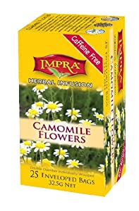 Impra Camomile Flowers Herbal Infusion Tea, 25-Count Tea Bags (Pack of 6)