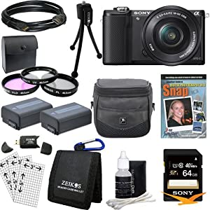 Sony Alpha a5000 ILCE-5000L/B ILCE5000LB ILCE5000 20.1 MP SLR Camera(Black) Bundle with High Speed 64GB Card, Spare Battery (Qty 2), 3 Piece filter kit, DVD SLR Tutorial, Deluxe Case and More!