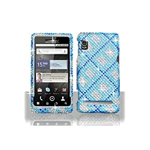 Motorola A955 Droid 2 Full Diamond Graphic Case - Blue Plaid