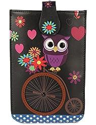 Instabuyz Women's & Girl's MOBILE Sling Bag, BLACK (MSNG-00146-OWL-BCYL-BK)
