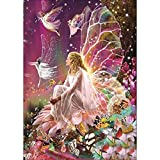 JCBABA DIY 5D Diamond Painting, Crystal Rhinestone Full Diamond Embroidery Pictures Arts Craft for Home Wall Decor Fairy Queen on The Flower 11.8 x 15.7 (Pattern -A) (Color: Pattern -a)