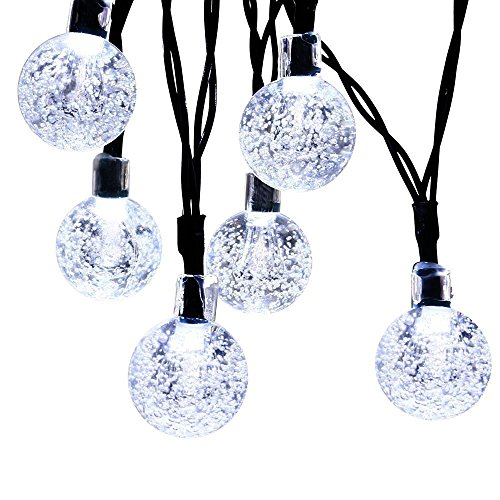 Icicle Crystal Solar String Lights, 20ft 30 LED Waterproof Outdoor Globe Fairy Lighting