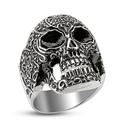 Day of The Dead Stainless Steel Cast Biker Ring - Sizes 9, 10, 11, 12, 13, 14 available (9) (Stainless Steel Owl Ring compare prices)
