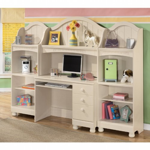 4PC Youth Bedroom Desk, Hutch, and Bookcase Set