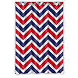 "Cool Modern Red Blue White Chevron Pattern New Waterproof Polyester Fabric Shower Curtain (48""x72"") Special Bathroom Decoration"