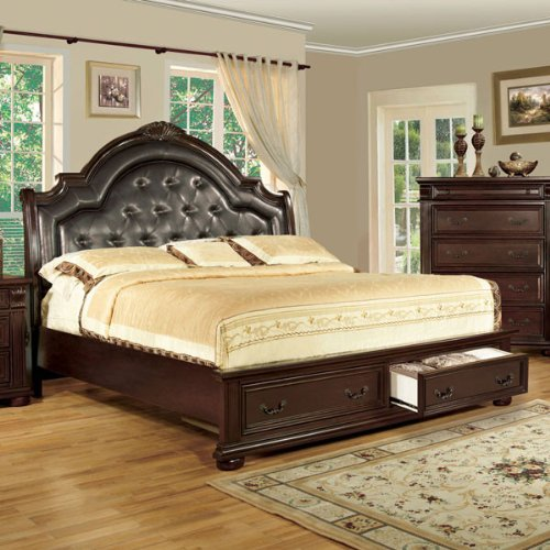 Scottsdale Brown Cherry Finish Queen Size Bed Frame Set front-972553