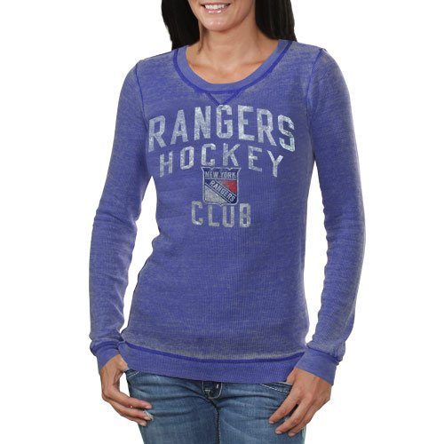 NHL Touch By Alyssa Milano New York Rangers Ladies Redzone Thermal Burnout Premium Long Sleeve T-Shirt - Navy Blue (Medium) at Amazon.com