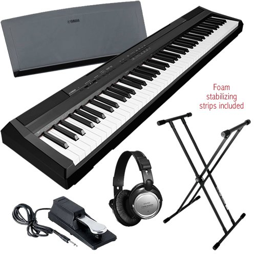 Yamaha P-105 Digital Piano (Black) Bonus Pak W/ Pedal & Headphones