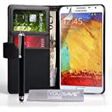 Yousave Accessories Samsung Galaxy Note 3 Neo Case Black PU Leather Wallet Cover With Stylus Pen